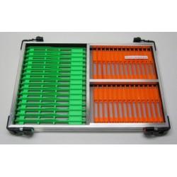Tray met licht groene en oranje tuigenplank
