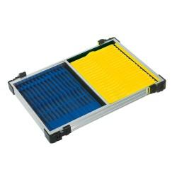 Tray met blauwe en gele tuigenplank